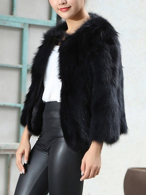 Crew Neck Fluffy Solid Fur and Shearling Coat_6