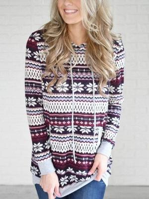 Ethnic Style Snowflake Printed Long Sleeves Hooded Christmas Fleece Hoodies for Women_3