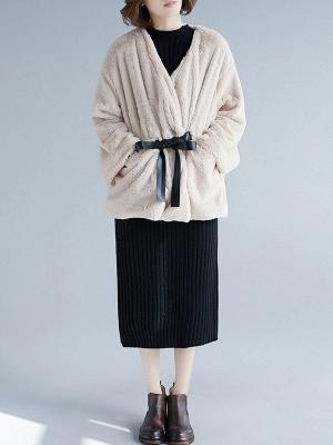 Long Sleeve Pockets Crew Neck Fur And Shearling Coats_6