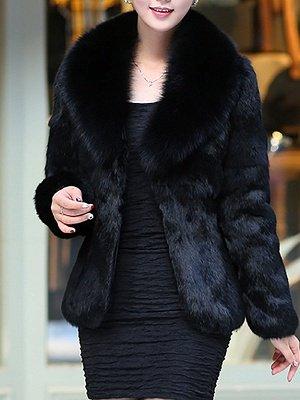 Fluffy Long Sleeve Shawl Collar Fur and Shearling Coat_3