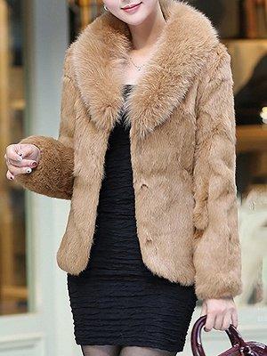 Fluffy Long Sleeve Shawl Collar Fur and Shearling Coat_2