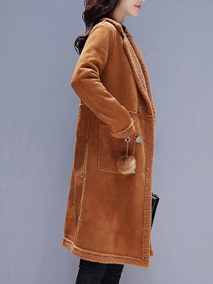 Long Sleeve Lapel Buttoned Fur And Shearling Coats_4