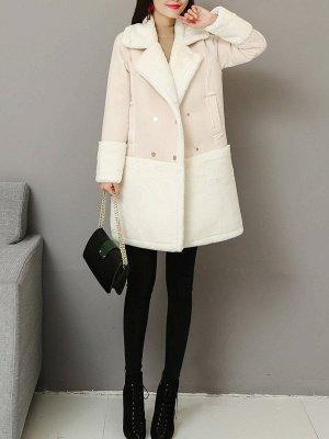 Lapel Long Sleeve Shift Solid Fur And Shearling Coats_8