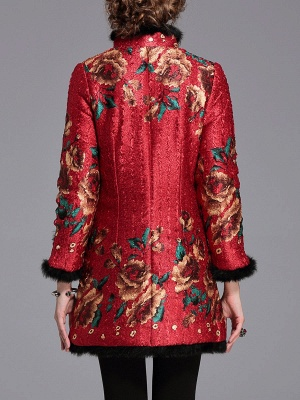 Vintage Long Sleeve Stand Collar Floral Fur And Shearling Coat_3