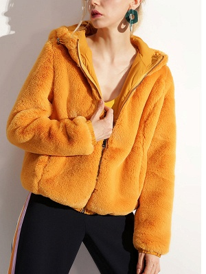 Fluffy Solid Hoodie Pockets Fur And Shearling Coats_4