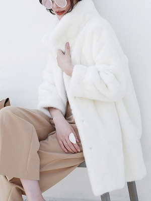Long Sleeve Shirt Collar Fur And Shearling Coats_6