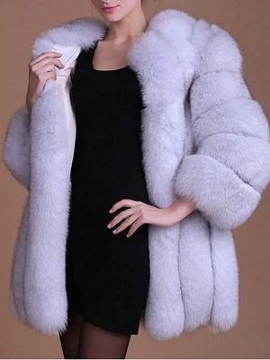 Long Sleeve Casual Solid Paneled Fur and Shearling Coat_14