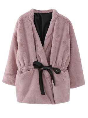 Long Sleeve Pockets Crew Neck Fur And Shearling Coats_7