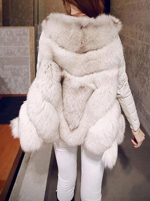 Long Sleeve A-Line Fluffy Elegant Fur And Shearling Coats_8