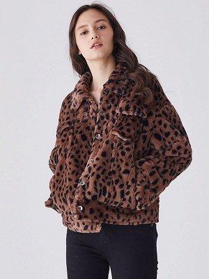Brown Shift Leopard Print Casual Fur And Shearling Coats_5