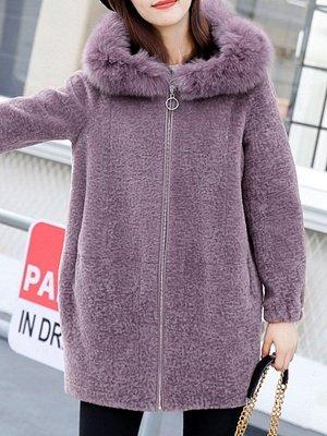 Hoodie Zipper Pockets Fur And Shearling Coats_2