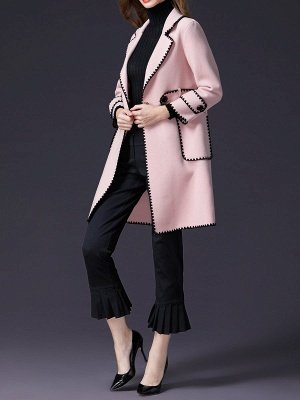 Pink Embroidered Long Sleeve Shift Coat_4
