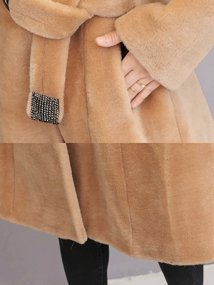 Buttoned Paneled Solid Shawl Collar Fur And Shearling Coats_8