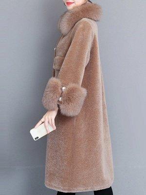 Casual Long Sleeve Fur And Shearling Coats_3