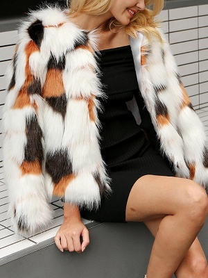 White Fluffy  Color-block Fur and Shearling Coat_4