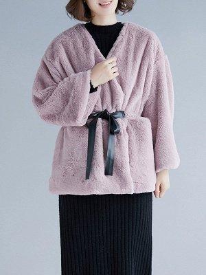 Long Sleeve Pockets Crew Neck Fur And Shearling Coats_2