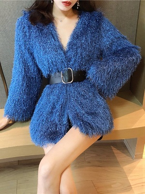 Solid Bell Sleeve Casual Fur And Shearling Coats_2