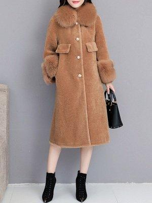 Women's Winter Faux Fur Shearling Coats With Fur Collar_1