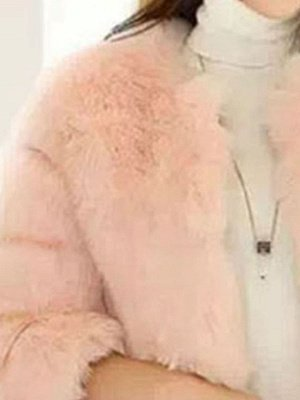 Casual 3/4 Sleeve Solid Fluffy  And Shearling Coat_8