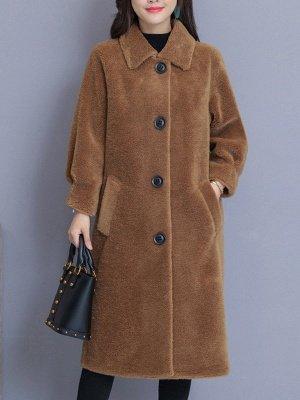 Solid Pockets Long Sleeve Casual Fur And Shearling Coats_2