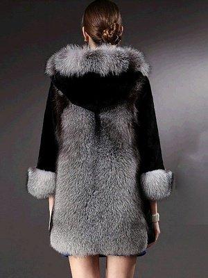 Black Casual Hoodie Fur And Shearling Coats_3
