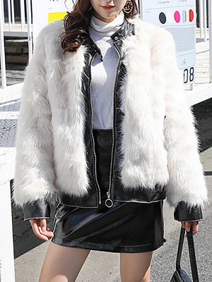 White Paneled Zipper Stand Collar Fur And Shearling Coats_1