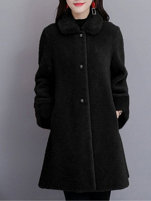 Buttoned Long Sleeve Solid Fur And Shearling Coats_3