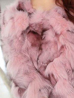 Plus Size Pink Casual Fluffy Crew Neck 3/4 sleeve  And Shearling Coat_4