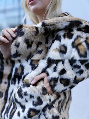 Brown Long Sleeve Hoodie Printed Fur And Shearling Coats - StyleWe.com_5