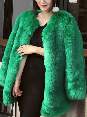 Long Sleeve Casual Fluffy  Fur and Shearling Coat_3