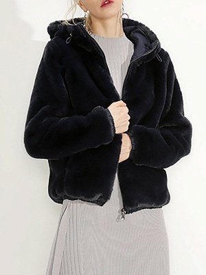 Fluffy Solid Hoodie Pockets Fur And Shearling Coats_1