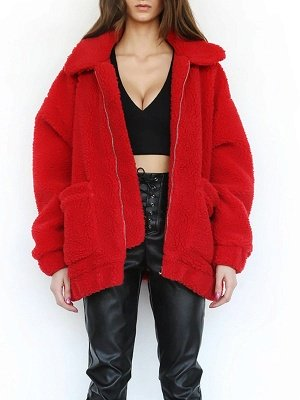 Casual Solid Shift Long Sleeve Fur and Shearling Coat_2