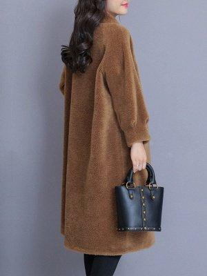 Solid Pockets Long Sleeve Casual Fur And Shearling Coats_6