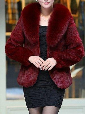 Fluffy Long Sleeve Shawl Collar Fur and Shearling Coat_8