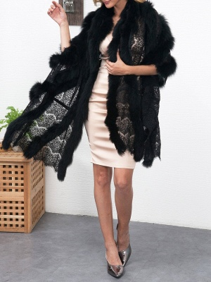 Guipure lace Paneled Fluffy Fur and Shearling Coat_8