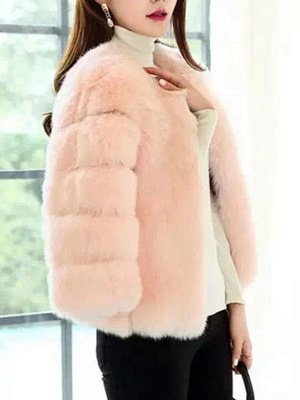 Casual 3/4 Sleeve Solid Fluffy  And Shearling Coat_6