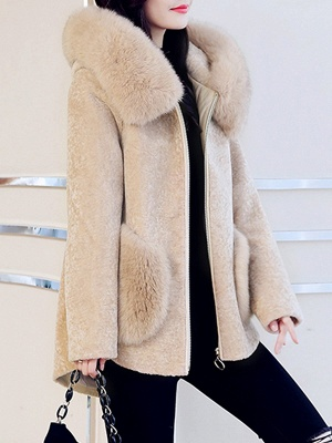 Paneled Hoodie Paneled Solid Fur And Shearling Coats_10
