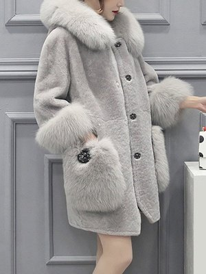 Buttoned Pockets Fluffy Paneled Fur and Shearling Coat_10