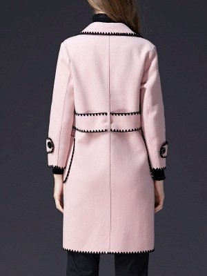Pink Embroidered Long Sleeve Shift Coat_3