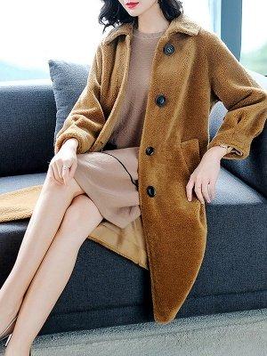 Brown Shawl Collar Casual Fur And Shearling Coats_9