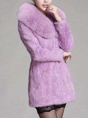 Casual Shawl Collar Beaded Shift Long Sleeve Fur and Shearling Coat_4