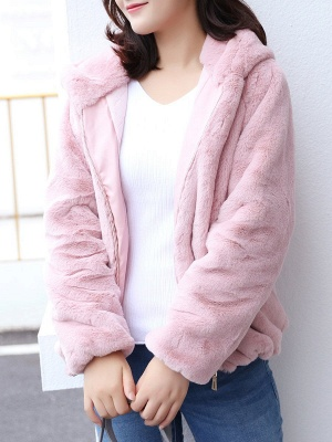 Pink Pockets Hoodie Casual Fur And Shearling Coats_4