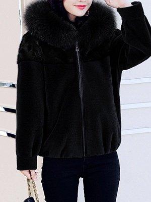 Hoodie Long Sleeve Zipper Fur And Shearling Coats_1