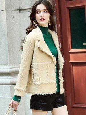 Long Sleeve Work Lapel Shift Fur And Shearling Coats_7