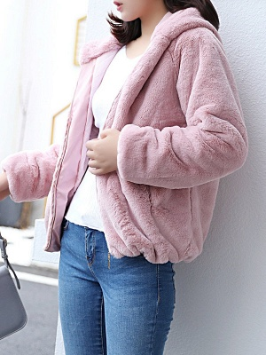 Pink Pockets Hoodie Casual Fur And Shearling Coats_3