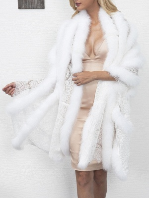 Guipure lace Paneled Fluffy Fur and Shearling Coat_9