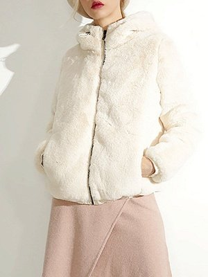 Fluffy Solid Hoodie Pockets Fur And Shearling Coats_3