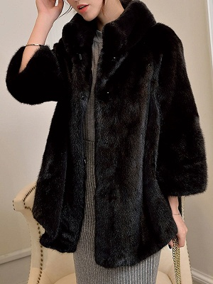 Stand Collar Shift Casual Long Sleeve Solid Fur and Shearling Coat_2