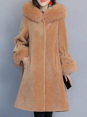 Hoodie Paneled Fluffy Fur And Shearling Coats_1