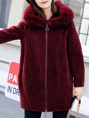 Hoodie Zipper Pockets Fur And Shearling Coats_1